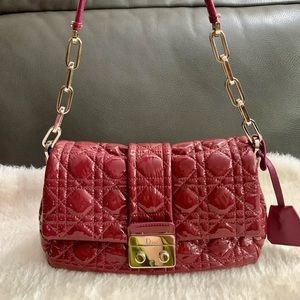 Dior Cannage Pink Patent New Lock Flap